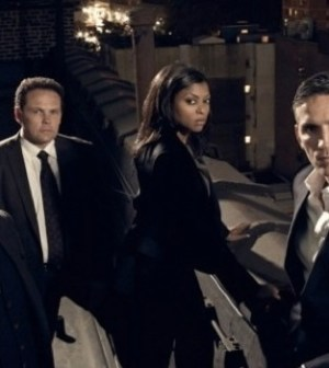 (l-r) Michael Emerson, Kevin Chapman, Taraji P. Henson, Jim Caviezel. Image © CBS