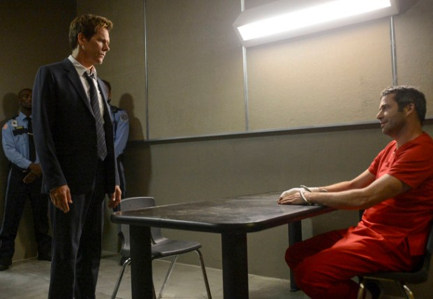 """Ryan Hardy (Kevin Bacon, L) seeks answers from Joe Carroll (James Purefoy, R) in the """"Chapter Two"""" episode of THE FOLLOWING airing Monday, Jan. 28 (9:00-10:00 PM ET/PT) on FOX. ©2013 Fox Broadcasting Co. CR: David Giesbrecht/FOX"""