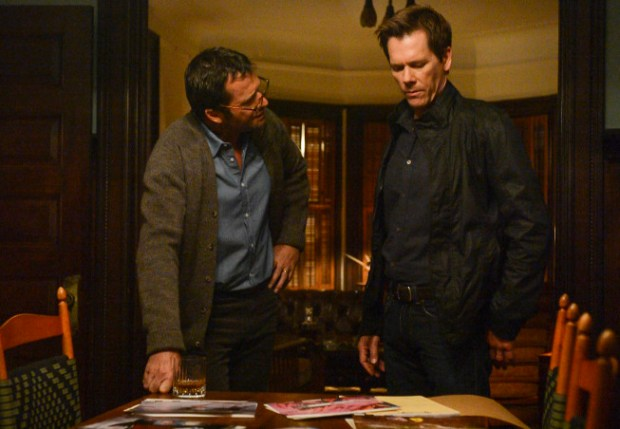 """Ryan Hardy (Kevin Bacon, R) seeks advice from Professor Joe Carroll (James Purefoy, L) in the """"The Poet's Fire"""" episode of THE FOLLOWING airing Monday, Feb. 4 (9:00-10:00 PM ET/PT) on FOX. ©2013 Fox Broadcasting Co. CR: David Giesbrecth/FOX"""