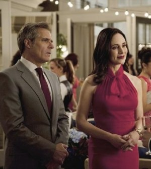 "Henry Czerny and Madeleine Stowe in Revenge's ""Sacrifice"" Episode. Image © ABC"