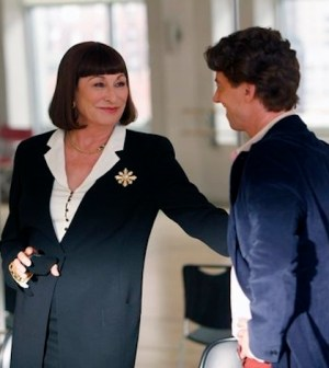 Anjelica Huston as Eileen Rand, Christian Borle as Tom Levitt -- (Photo by: Will Hart/NBC)