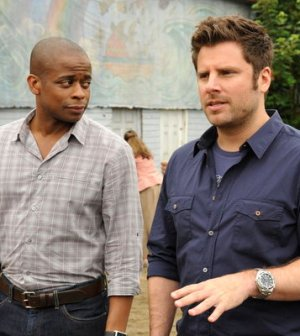 Dule Hill as Gus, James Roday as Shawn -- (Photo by: Alan Zenuk/USA Network)