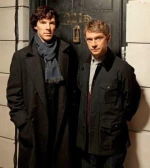 Benedict Cumberbatch and Martin Freeman in Sherlock. Image © BBC