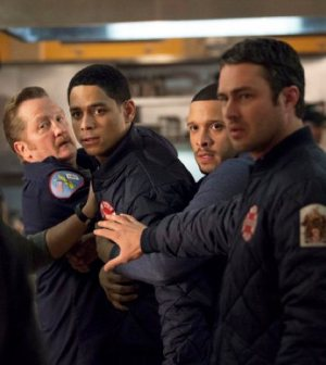 Pictured: (l-r) Christian Stolte as Mouch, Charlie Barnett as Peter Mills, Joe Minoso as Cruz, Taylor Kinney as Kelly Severide -- (Photo by: Elizabeth Morris/NBC)