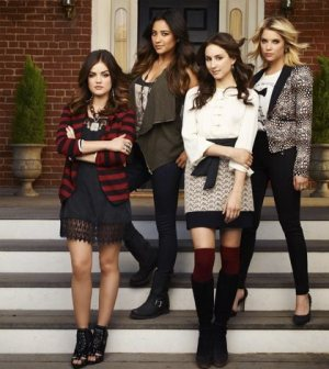 Lucy Hale as Aria Montgomery, Ashley Benson as Hanna Marin, Troian Bellisario as Spencer Hastings and Shay Mitchell as Emily Fields. (ABC FAMILY/ANDREW ECCLES)