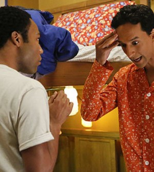 Troy and Abed (Donald Glover and Danny Pudi) switch bodies on Community (Image © NBC)