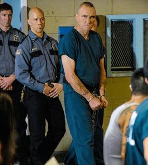 Vinnie Jones as Sebastian Moran.  Image © CBS
