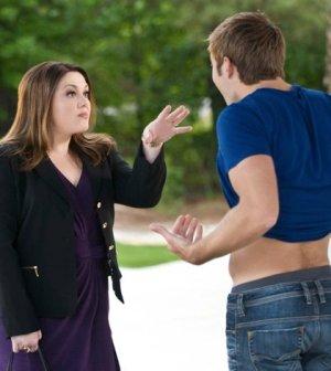 """Jane (Brooke Elliott) Confronts Paul (Justin Deeley) in Drop Dead Diva's Season Premiere """"Back From the Dead."""" Image © Lifetime"""