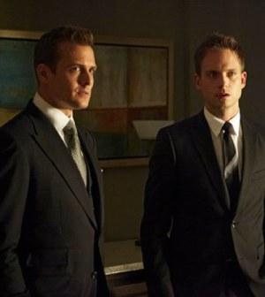 Pictured: (l-r) Gabriel Macht as Harvey Specter, Patrick J. Adams as Mike Ross -- (Photo by: Ian Watson/USA Network)