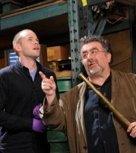 Pictured: (l-r) Aaron Ashmore as Steve Jinks, Saul Rubinek as Artie Nielsen -- (Photo by: Steve Wilkie/Syfy)