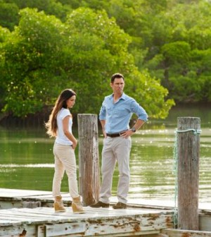 Pictured: (l-r) Gabrielle Anwar as Fiona Glenanne, Jeffrey Donovan as Michael Westen -- (Photo by Glenn Watson/USA Network)