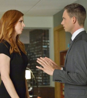 Sarah Rafferty andPatrick J. Adams in Suits.(Photo by: Ben Mark Holzberg/USA Network)