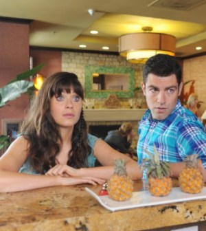 Zooey Deschanel and Max Greenfield in New Girl. Co.  Cr: Ray Mickshaw/FOX