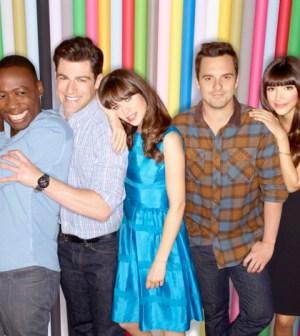Cast L-R:  Lamorne Morris, Max Greenfield, Zooey Deschanel, Jake Johnson and Hannah Simone.
