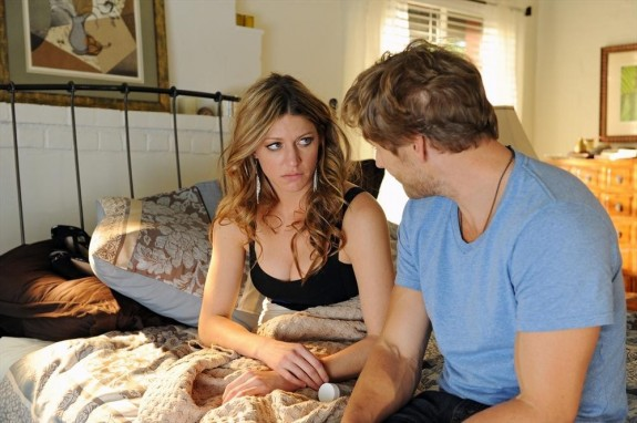 Pictured: Jes Macallan as Joss, Brett Tucker as Harry -- © 2013 ABC
