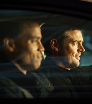 Det. John Kennex (Karl Urban, R) and Dorian (Michael Ealy, L) in FOX's Almost Human. Co. Cr: Liane Hentscher/FOX