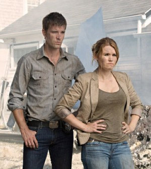 Lucas Bryant and Emily Rose in Syfy's Haven. Photo by Michael Tompkins/Syfy
