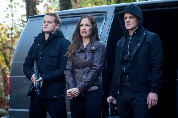 "The Clones (guest stars Alex Miller (L) and Justin Breault (R)) arrive with Valerie (Minka Kelly, C) in the ""Blood Brothers"" episode of Almost Human. Co. Cr: Liane Hentscher/FOX"
