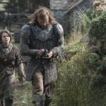 Maisie Williams as Arya Stark, Rory McCann as Sandor 'The Hound' Clegane_photo Helen Sloan_HBO