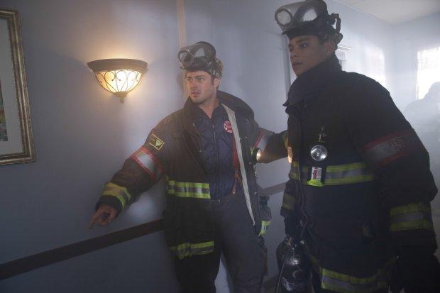 Pictured: (l-r) Taylor Kinney as Kelly Severide, Charlie Barnett as Peter Mills -- (Photo by: Elizabeth Morris/NBC)
