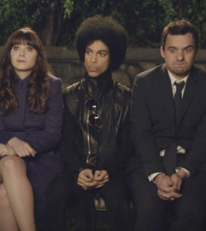 """NEW GIRL: Music royalty Prince (C)  makes a special guest appearance in the """"Party Time"""" episode of NEW GIRL."""