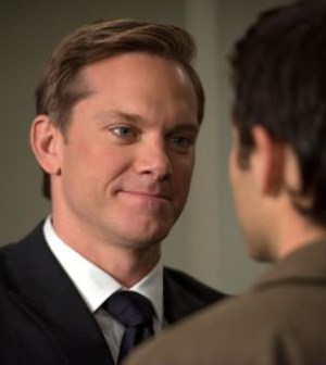 "Bartholomew (Adam Harrington, L) confronts Castiel (Misha Collins, R) in Supernatural's ""Captives."" Image © CW Network"