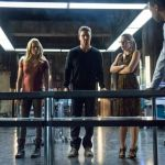 Pictured (L-R): Caity Lotz as Sara Lance, Stephen Amell as Oliver Queen, Emily Bett Rickards as Felicity Smoak, and David Ramsey as John Diggle -- Photo: Cate Cameron/The CW -