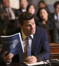 "Booth (David Boreanaz, C) is questioned by a Senate subcommittee  in the ""The Recluse in the Recliner"" Season Finale episode of BONES. Cr:  Patrick McElhenney/FOX"