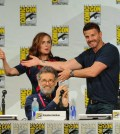 Bones Cast members Emily Deschanel, David Boreanaz, and Executive Producer Stephen Nathan during the BONES panel on Friday, July 26  at the FOX FANFARE AT SAN DIEGO COMIC-CON © 2014.  CR: Frank Micelotta/FOX  © 2014 FOX