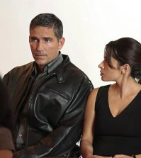 Pictured left to right: Jim Caviezel and Sarah Shahi Photo: Giovanni Rufino/CBS