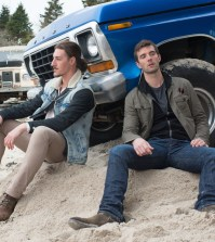 Pictured: (l-r) --Eric Balfour as Duke. Lucas Bryant as Nathan.  (Photo by: Mike Tompkins/Syfy)