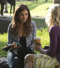 Pictured (L-R): Nina Dobrev as Elena and Candice Accola as Caroline (back to camera) -- Photo: Bob Mahoney/The CW