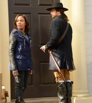"""chabod (Tom Mison, R) and Abbie (Nicole Behaire, L) in the """"Tempus Fugit"""" Season Finale episode of SLEEPY HOLLOW"""