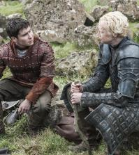 Daniel Portman as Podrick Payne and Gwendoline Christie as Brienne of Tarth |photo-Helen-Sloan_HBO