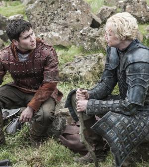 Daniel Portman as Podrick Payne and Gwendoline Christie as Brienne of Tarth |photo-Helen-Sloan_HBO