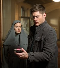 Pictured (L-R): Rachel Keller as Sister Mathias and Jensen Ackles as Dean -- Credit: Liane Hentscher/The CW