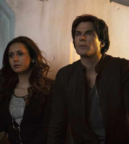 Pictured (L-R): Nina Dobrev as Elena and Ian Somerhalder as Damon -- Photo: Wilford Harewood/The CW