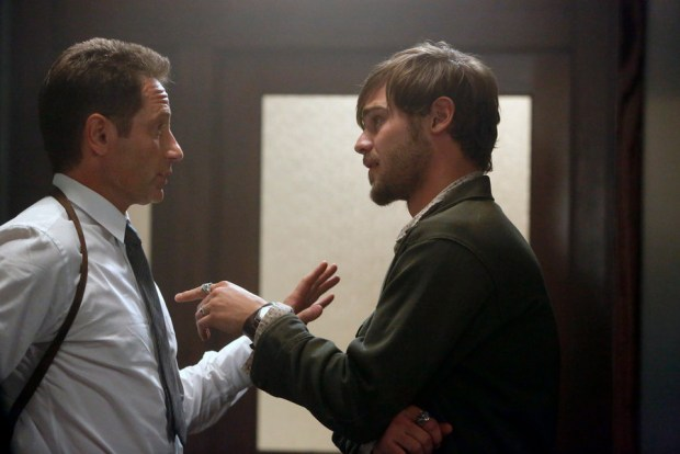 Pictured: (l-r) David Duchovny as Sam Hodiak, Grey Damon as Brian Shafe -- (Photo by: Vivian Zink/NBC)