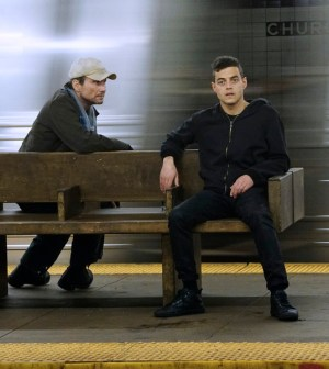 Pictured: (l-r) Christian Slater as Mr. Robot, Rami Malek as Elliot -- (Photo by: Peter Kramer/USA Network)