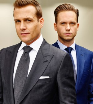 SUITS -- Season:5 -- Pictured: (l-r) Gabriel Macht as Harvey Specter, Patrick J Adams as Michael Ross -- (Photo by: Nigel Parry/USA Network)