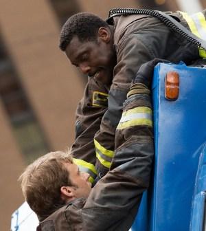 Pictured: (l-r) Jesse Spencer as Matthew Casey, Eamonn Walker as Chief Wallace Boden -- (Photo by: Elizabeth Morris/NBC)