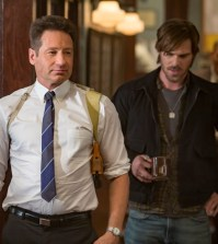 "AQUARIUS -- ""Happiness is a Warm Gun"" Episode 202 -- Pictured: (l-r) David Duchovny as Sam Hodiak, Grey Damon as Brian Shafe -- (Photo by: Ron Batzdorff/NBC)"