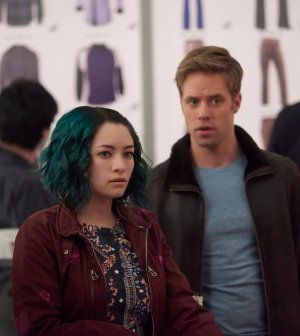 Pictured:  (l-r) Jodelle Ferland as Five, Shaun Sipos as Devon -- (Photo by: Russ Martin/Prodigy Pictures/Syfy)