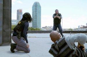 "BLINDSPOT -- ""Heave Fiery Knot"" Episode 202 -- Pictured: Jaimie Alexander as Jane Doe, Sullivan Stapleton as Kurt Weller, Malcolm Murray as Cartel Thug #4 -- (Photo by: Nicole Rivelli/NBC)"