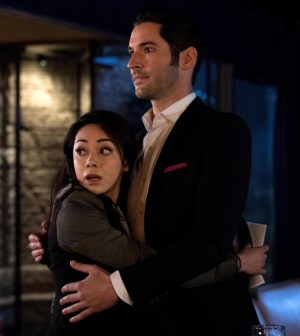 """LUCIFER: L-R: Aimee Garcia and Tom Ellis in the """"Trip To Stabby Town"""" episode of LUCIFER airing Monday, Nov. 14 (9:01-10:00 PM ET/PT) on FOX. ©2016 Fox Broadcasting Co. Cr: Jack Rowand/FOX"""