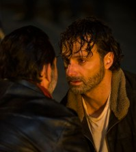Jeffrey Dean Morgan as Negan, Andrew Lincoln as Rick Grimes - The Walking Dead _ Season 7, Episode 1 - Photo Credit: Gene Page/AMC