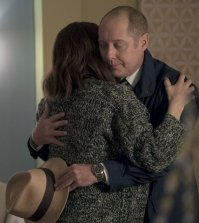 "THE BLACKLIST -- ""Dr. Adrian Shaw (#98): Conclusion"" Episode 408 -- Pictured: (l-r) Megan Boone as Elizabeth Keen, James Spader as Raymond ""Red"" Reddington -- (Photo by: Virginia Sherwood/NBC)"