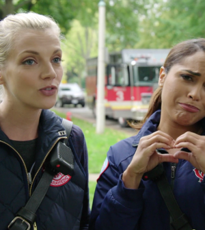 Pictured: Chicago Fire's Kara Killmer and Monica Raymund