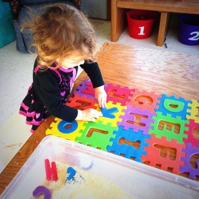Mommy Mondays: Sensory Bins With Letters