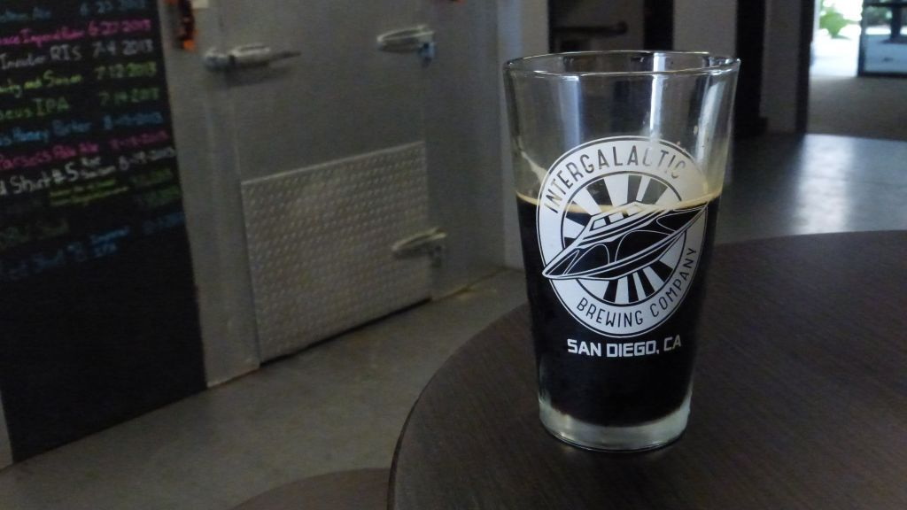 Pint of coconut porter from Intergalactic Brewing.